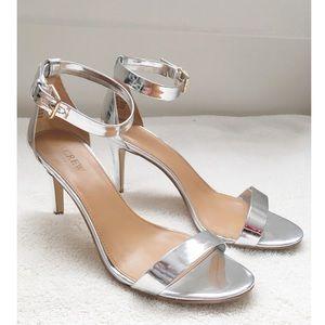 J. Crew Factory Silver Metallic High-heel Sandals